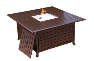 Square Cast Aluminum Firepit With Lid